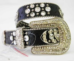 New S M L or XL HAIR HIDE ZEBRA LEATHER PATCHS RHINESTONE COWGIRL WESTER... - $54.44