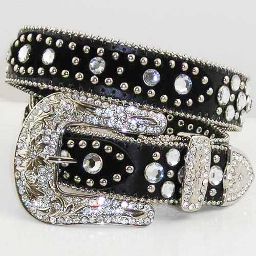 Primary image for NEW XS  S M L XL HAIR HIDE BLACK LEATHER PATCH RHINESTONE COWBOY WESTERN BELT