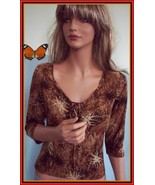 LARGE JUNIOR BROWN GOLD CATTY KNIT TIE SHIRT T-SHIRT TOP PULLOVER BLOUSE... - $16.82
