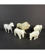 5 Vintage Celluloid Plastic Animals Made in USA Lion Ram Elephant Bison ... - $24.99