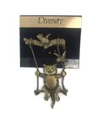 Vintage JJ Jonette Cat On Articulated Swing Brooch Pin Costume Bronze To... - $23.20