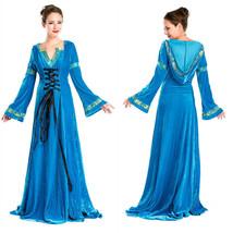 Blue Renaissance Costume Gown Medium Large Light Blue Medieval Dress Deluxe - $69.99