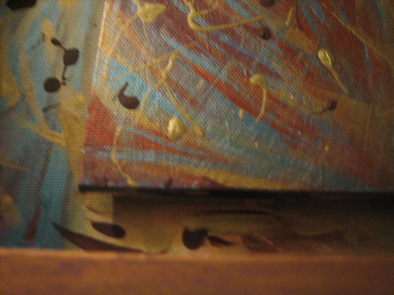 Wild Drizzle Abstract Handpainted Wooden Wall Frame Decor-NEW