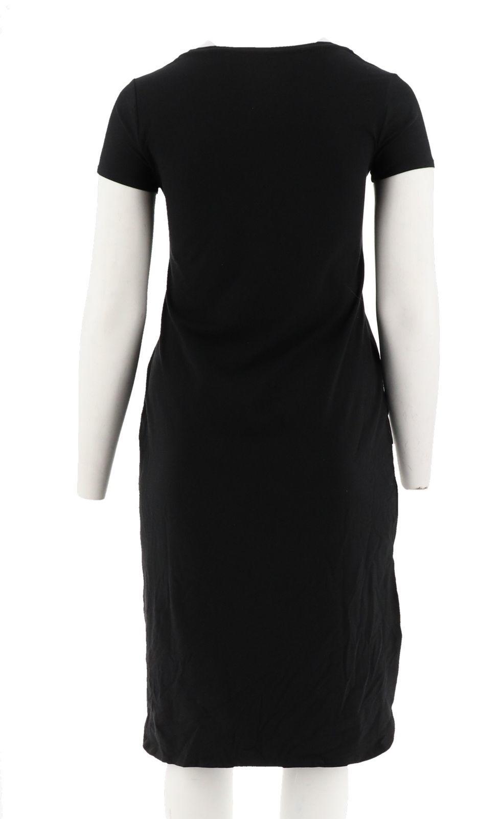 H Halston Essentials Knit Midi Dress Shirttail Hem Black XS NEW A290894 image 3