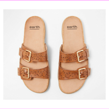 Earth Perforated Leather Slide Sandals- Sand Antigua Alpaca 9.5 M - $63.04