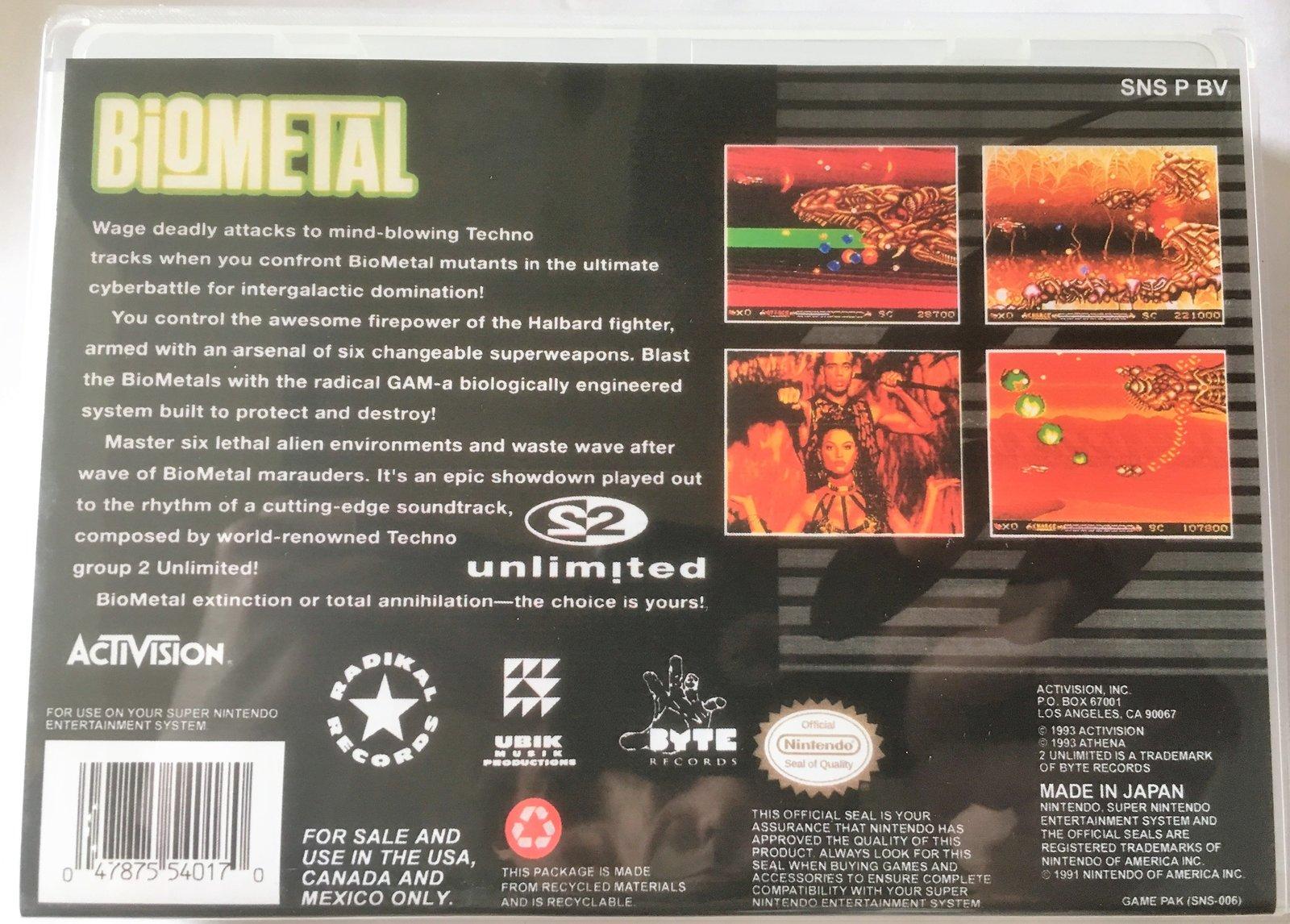 Biometal (Super Nintendo, SNES) - Reproduction Video Game Cartridge with Univers