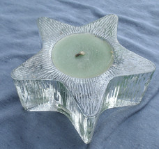 Vintage Glass Star shaped Candle,green wax,1980s -celestial,textured,cle... - $7.99