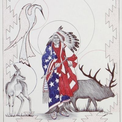Limited Edition Native American Indian Chief Wrapped in American Flag Print