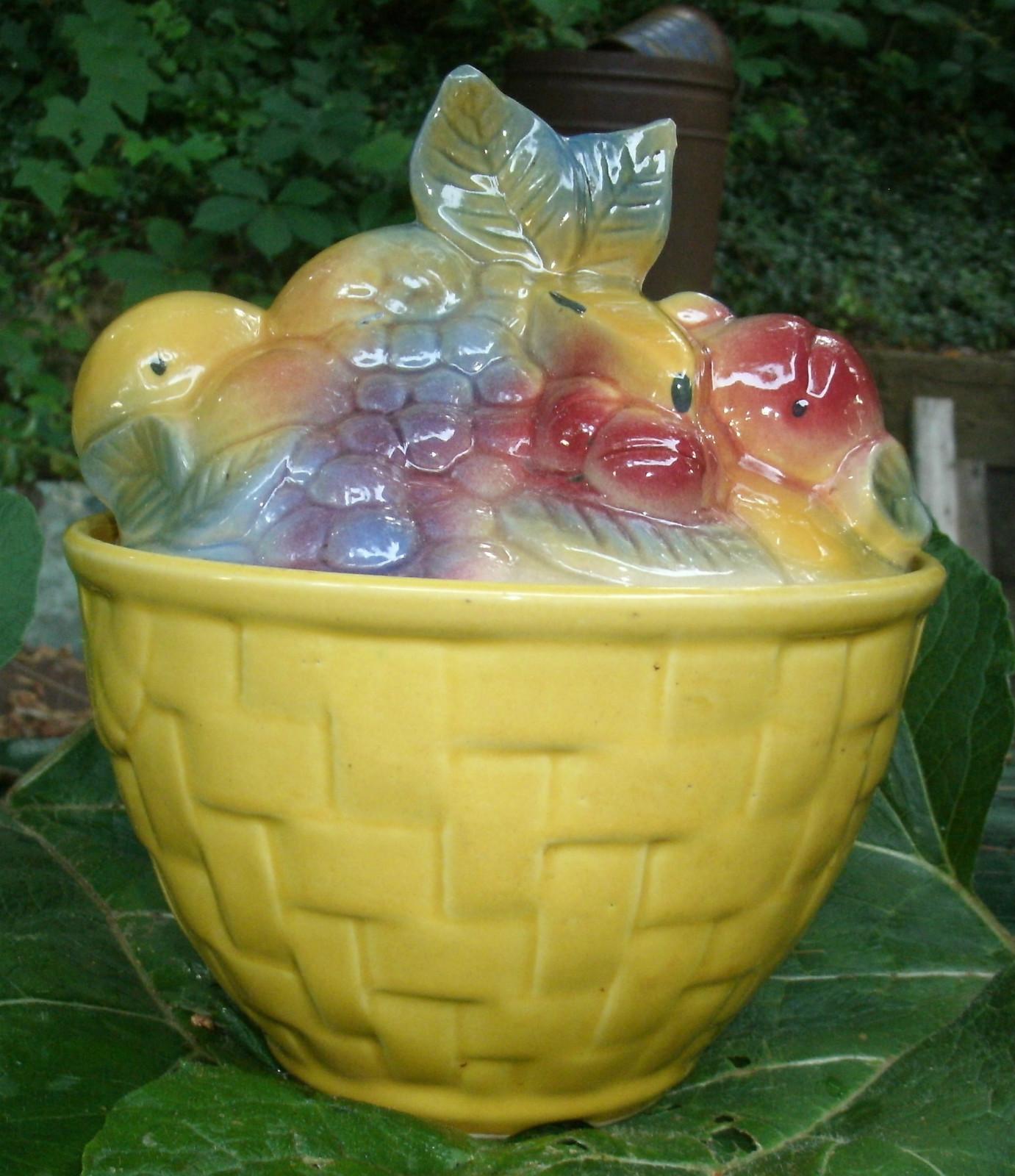 Rare Fruit Basket Cookie Jar By Shawnee Pottery Vintage