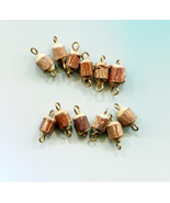 12 wood tree stump charms bead drops pendants wooden lot 15mm jewelry ma... - $2.50