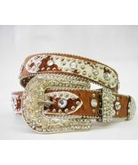 XS  S M L XL Lgt  Brown HAIR HIDE LEATHER PATCH RHINESTONE COWBOY WESTER... - $59.99