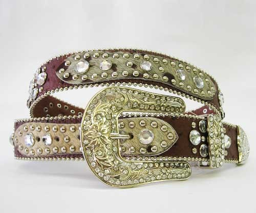 XS  S M L XL DK Brown HAIR HIDE LEATHER PATCH RHINESTONE COWBOY WESTERN BELT