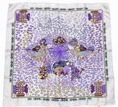 Hermes Scarf Stole Rencontre Oceane by Annie Faivre Purple Silk New Unus... - $7.976,39 MXN