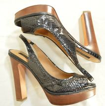 Ann Taylor shoes heels 9M platform black leather snakeskin high chic career image 5