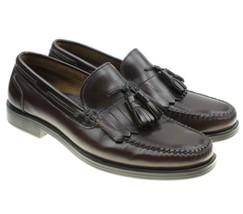 Men's Bass Courier Loafers Dress Shoes Size 8.5 Burgundy Leather Kilt Tassels - $19.75