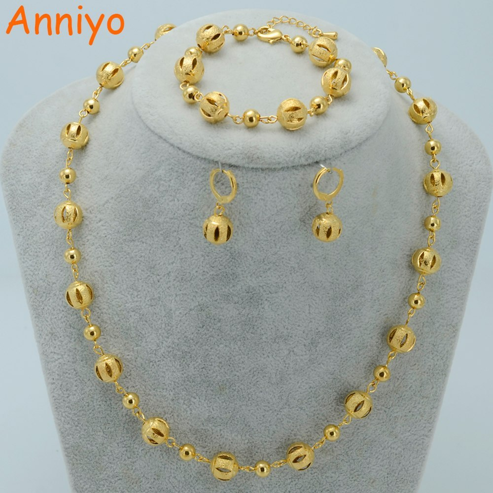 Primary image for Beads Jewelry sets Ball Necklaces Earrings Bracelet Gold Color Beaded