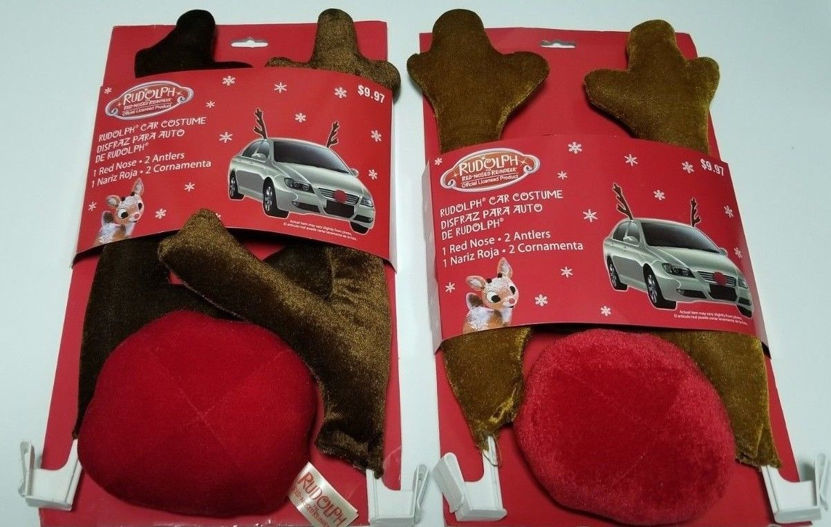 Rudolph The Red Nosed Reindeer X-Mas Car Costume Tan or Brown Antlers W/Red Nose