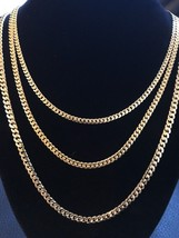 Thin Men's Miami Cuban Chain 14k Gold Over Solid 925 Sterling Silver Ita... - £28.40 GBP+