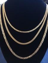 Thin Men's Miami Cuban Chain 14k Gold Over Solid 925 Sterling Silver Ita... - $39.59+