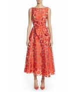 Lela Rose Dress Bow Front Sleeveless Silk Jacquard Orange Floral Sz 10 N... - $799.00