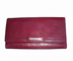 Fossil Red Leather Checkbook ID Trifold Wallet 16 credit card pockets - $35.00