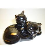 Cat figurine porcelain black 91 thumbtall