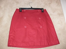 ANN TAYLOR Petite 70% Wool Wrap Mini Skirt Button Dark Red Size 8P ek - $24.99