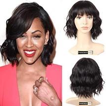 PANEWAY Human Hair Body Wave Wigs with Flat Bangs Brazilian Short Wavy Bob Wigs