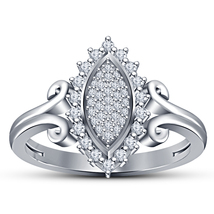 14k White Gold Finish 925 Sterling Solid Silver Womens Diamond Engagemen... - £55.68 GBP