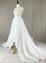 White High Low Tulle Skirt White Bridal Wedding Skirt with Train image 7