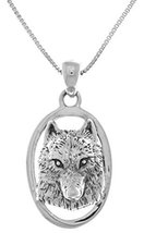 Jewelry Trends Sterling Silver Wolf Face 3D Portrait Pendant on 18 Inch ... - $30.24