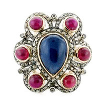 Victorian 2.22ct Rose Cut Diamond Gemstones Cute Colorful Lovely Ring - $389.90