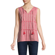 St. John's Bay Women's Dobby Tank Top Size Small Red Texture Tie Front NEW - $22.76