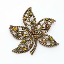 Vintage NINA RICCI AVON Rhinestone Brooch VTG Fall Leaf Pin - $9.97