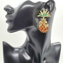 Gold Pineapple Rhinestone Fun Fashion Stylish Trendy Modern Dangle Earrings - $19.80