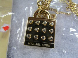 Michael Kors Necklace Heritage Crystal Padlock NEW $145 - $94.05