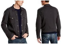 Levi's Men's French Terry Trucker Jacket Cotton Blend In Dark Grey Phant... - $49.99