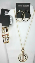 Vince Camuto Goldtone Red Crystals Circle Necklace Earrings Bracelet Set NEW $88 - $57.42