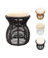 Natural Rattan Ottoman Pouf Stool Opal With Cushion 3 Colors - $70.99