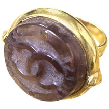 Vintage CHANEL brown candy ring with  gold tone frame and engraved logo ... - $292.00