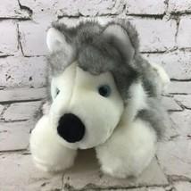 Husky Puppy Dog Plush Gray White Stuffed Animal Canada Ribbon Soft Toy  - $14.84