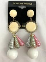 Vintage Beaded Dangle Earrings Long Plastic Enamel Cream Pastel Funky NOS 90s - $12.58