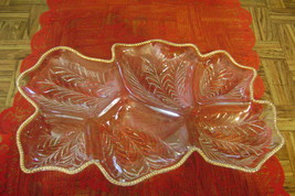 "Exquisite Vintage 15"" Gold Trimmed Glass 6 Divided Relish Fruit Tray Dis... - $19.80"