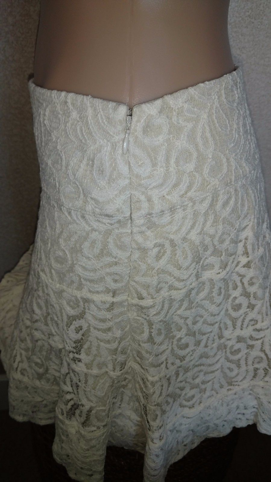 Express Women's Crocheted Lace Fit & Flare Skirt Ivory Size 10 $78