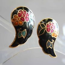 Elegant Black Cloisonne Enamel Flowers & Butterfly Pierced Earrings 1970... - $12.95