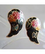 Elegant Black Cloisonne Enamel Flowers & Butterfly Pierced Earrings 1970... - $12.95