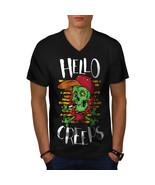 Skull Head Hello Creeps Shirt  Men V-Neck T-shirt - $12.99+
