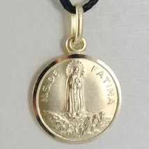 SOLID 18K YELLOW GOLD OUR LADY OF FATIMA, VIRGIN MARY ROUND MEDAL MADE IN ITALY image 1