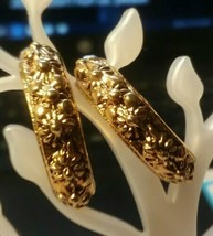 "Vintage Jewelry:;1/2"" Gold Tone Loop Pierced Earrings170901 - $8.90"