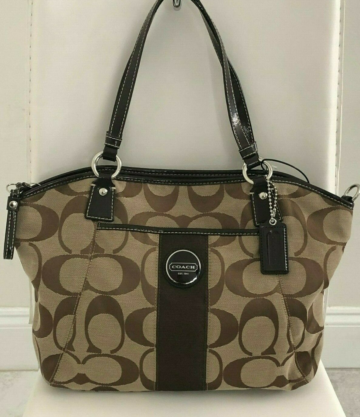 Primary image for COACH Brown Monogram Canvas w/ Patent Leather Satchel/Shoulder/Tote Bag $298